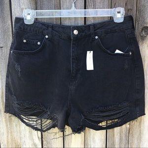 NWT Topshop Moto Ripped Mom Denim Shorts Black 10